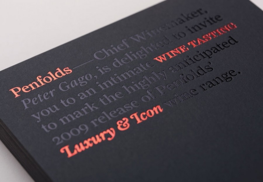 typographic penfolds wine invite 1