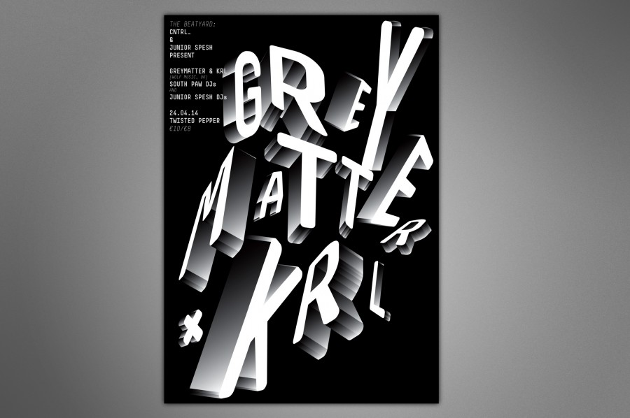grey matter and krl typographic poster 1