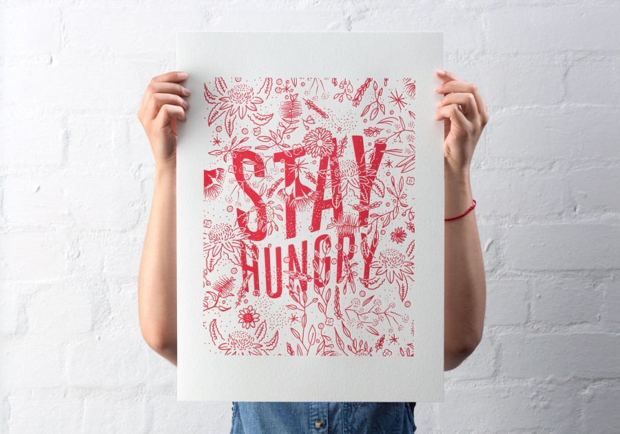 stay hungry letterpress poster 1